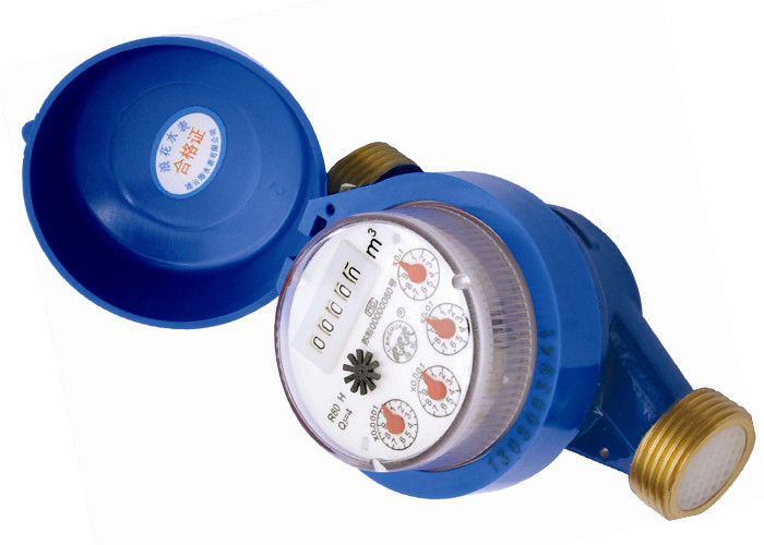 DN15 Cast Iron Single Jet Dry Dial Water Meter , Cold Water Meter Free Rotating Register